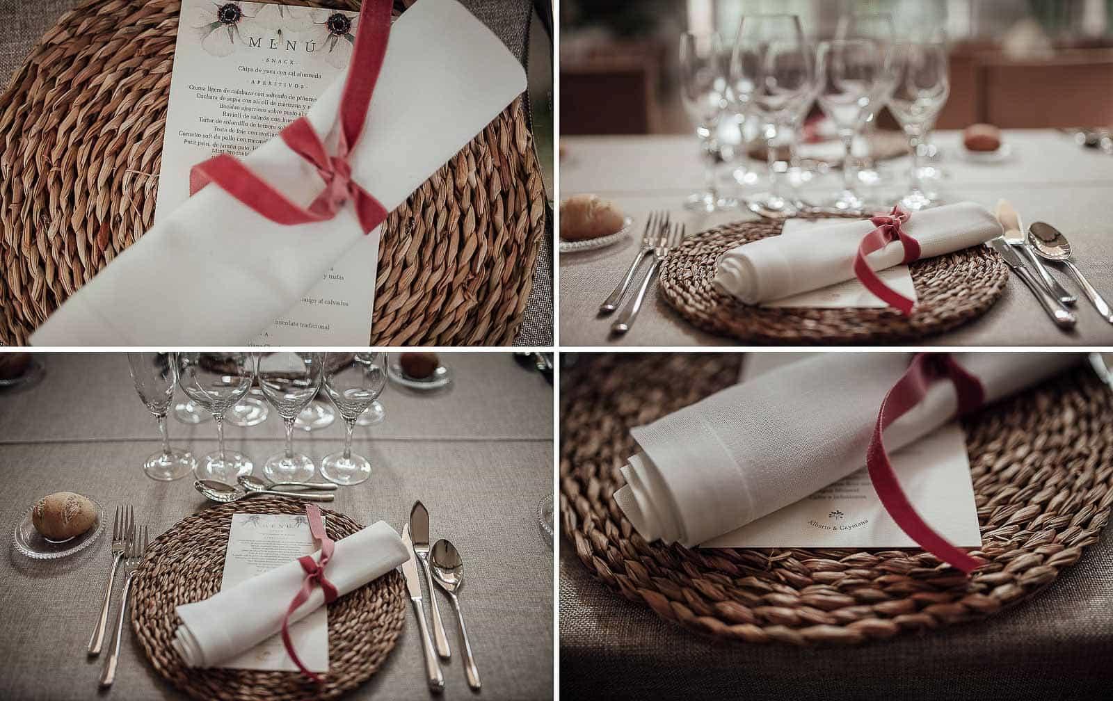 decoracion mesas menu lazo valisse