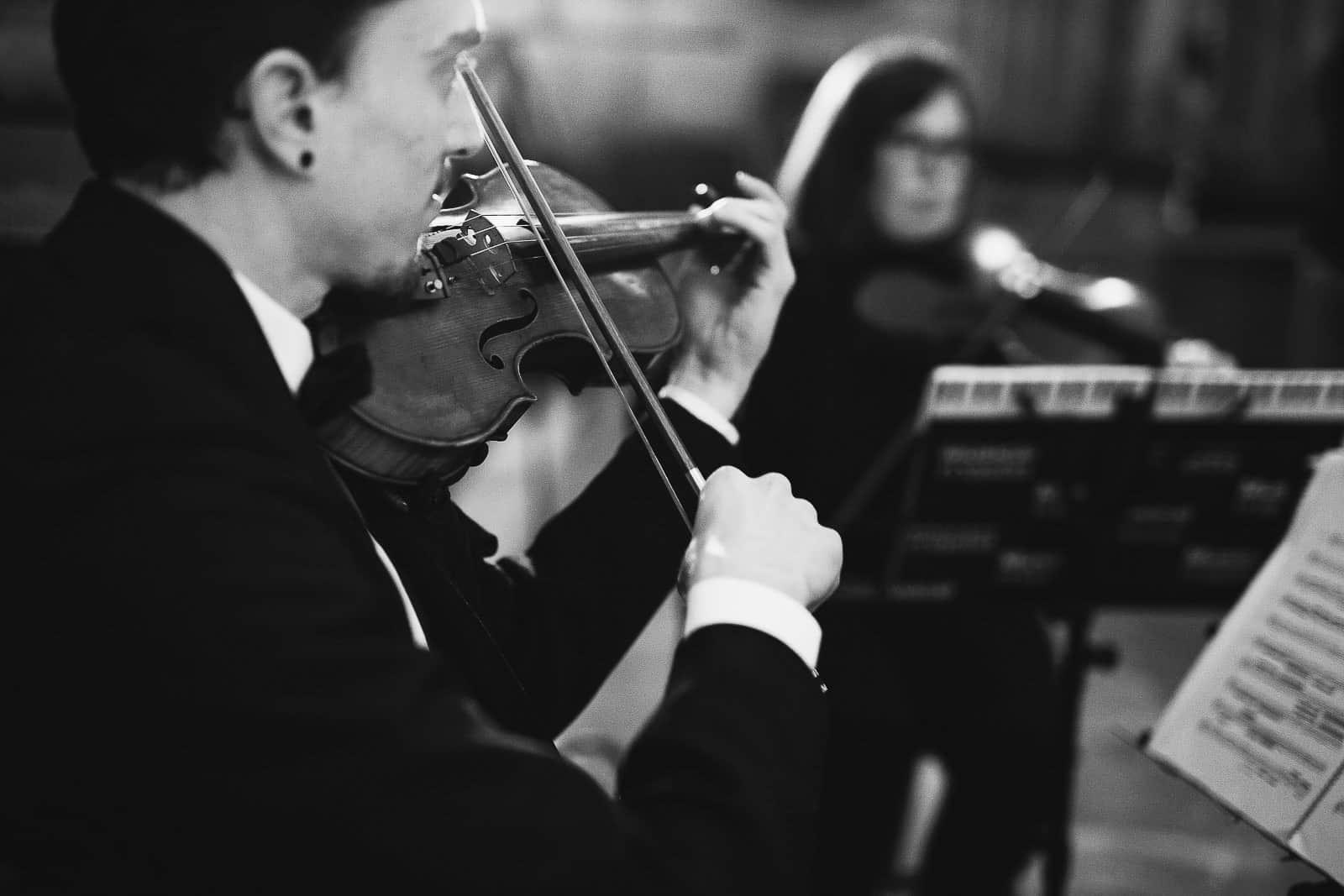 musica directo violin blanco y negro