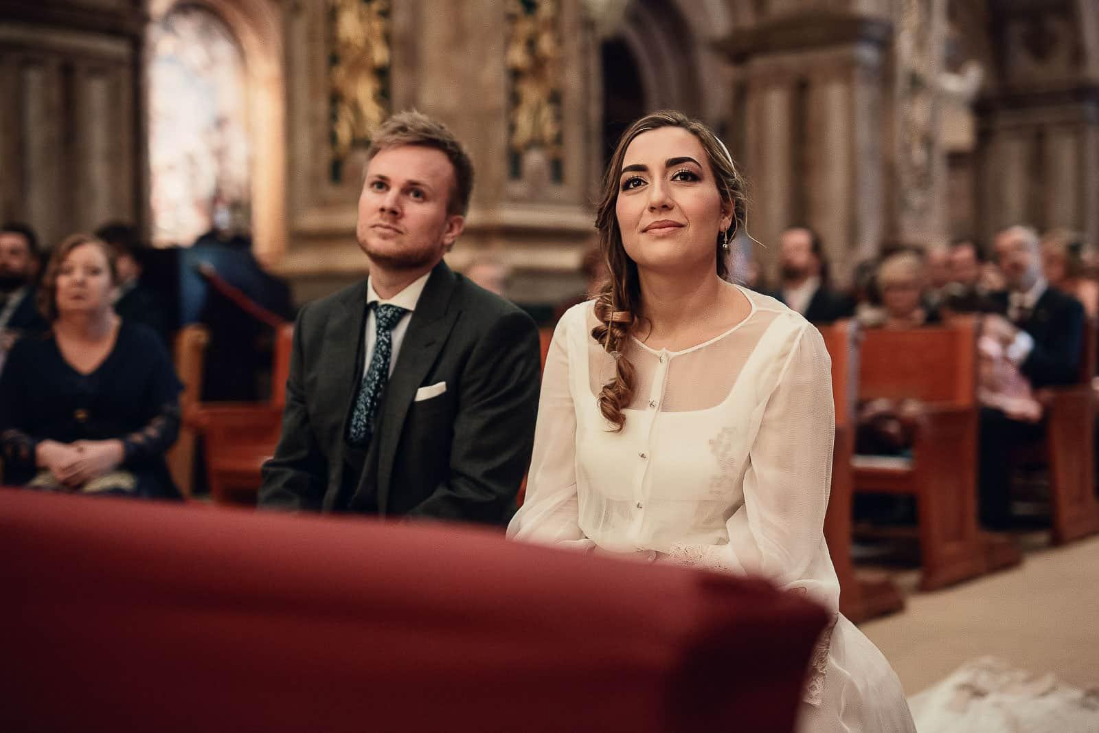 wedding couple church look