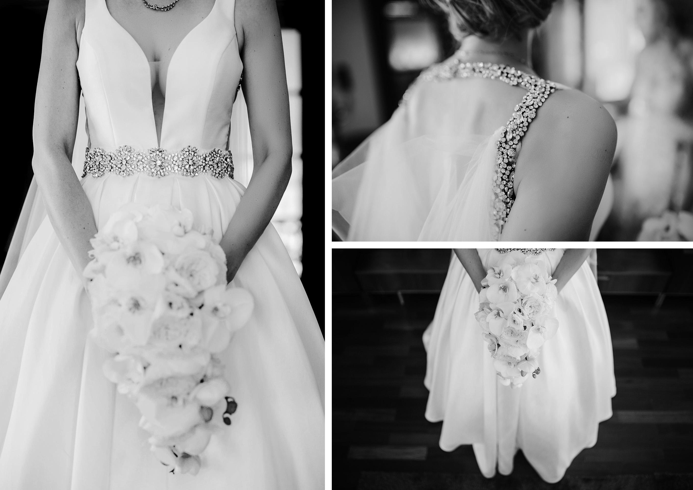 detalles vestido novia pedreria ramo flores