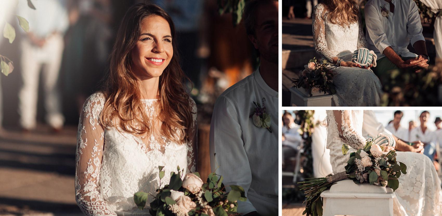 novia vestido blanco encaje ramo flores detalles wedding
