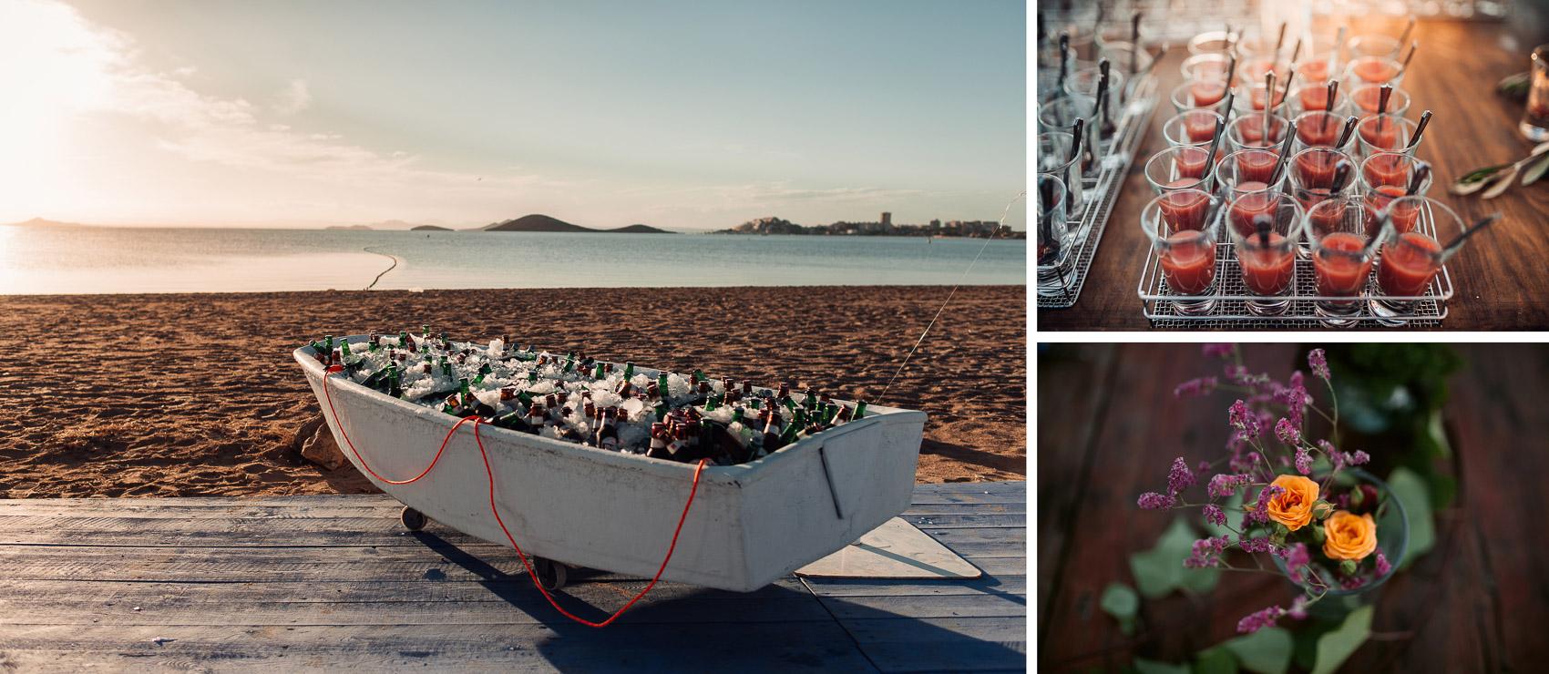 decoracion comida beach cerveza aperitivos flores detalles valisse