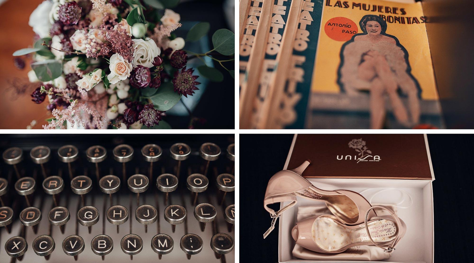 detalles casa flores revistas botones tacones caja wedding