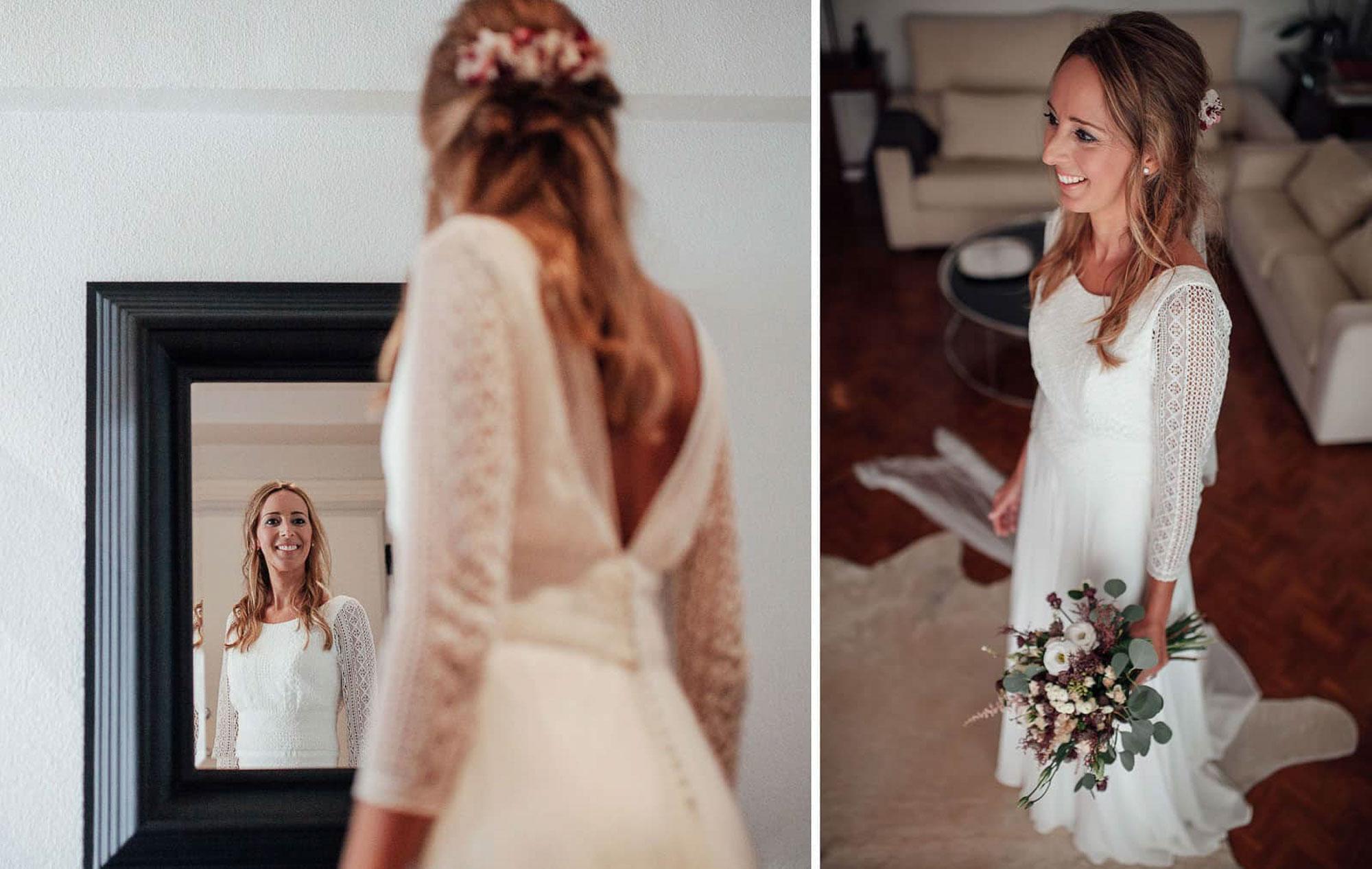 novia casa ramo vestido detalle espejo