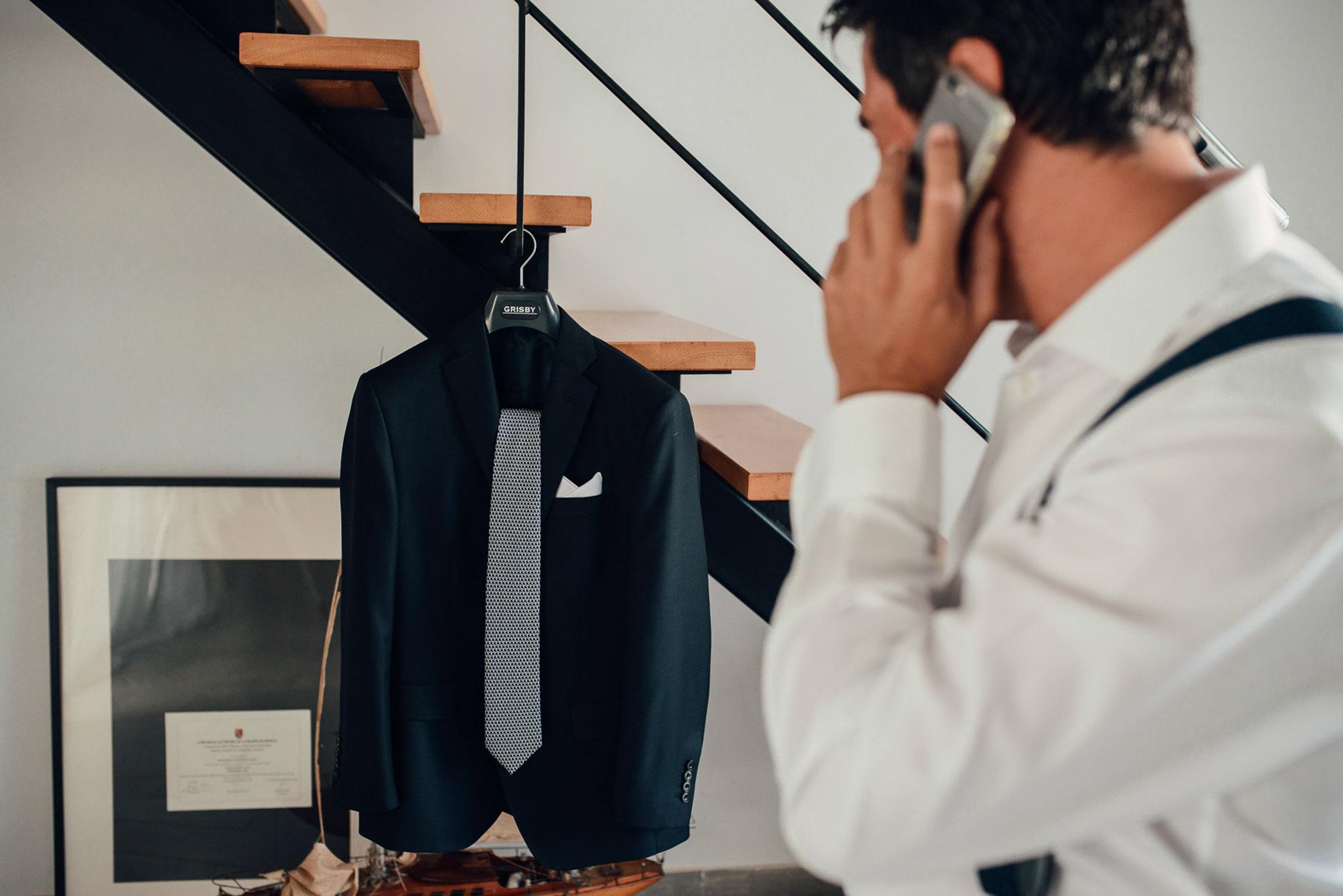novio detalle traje pañuelo corbata movil wedding camisa