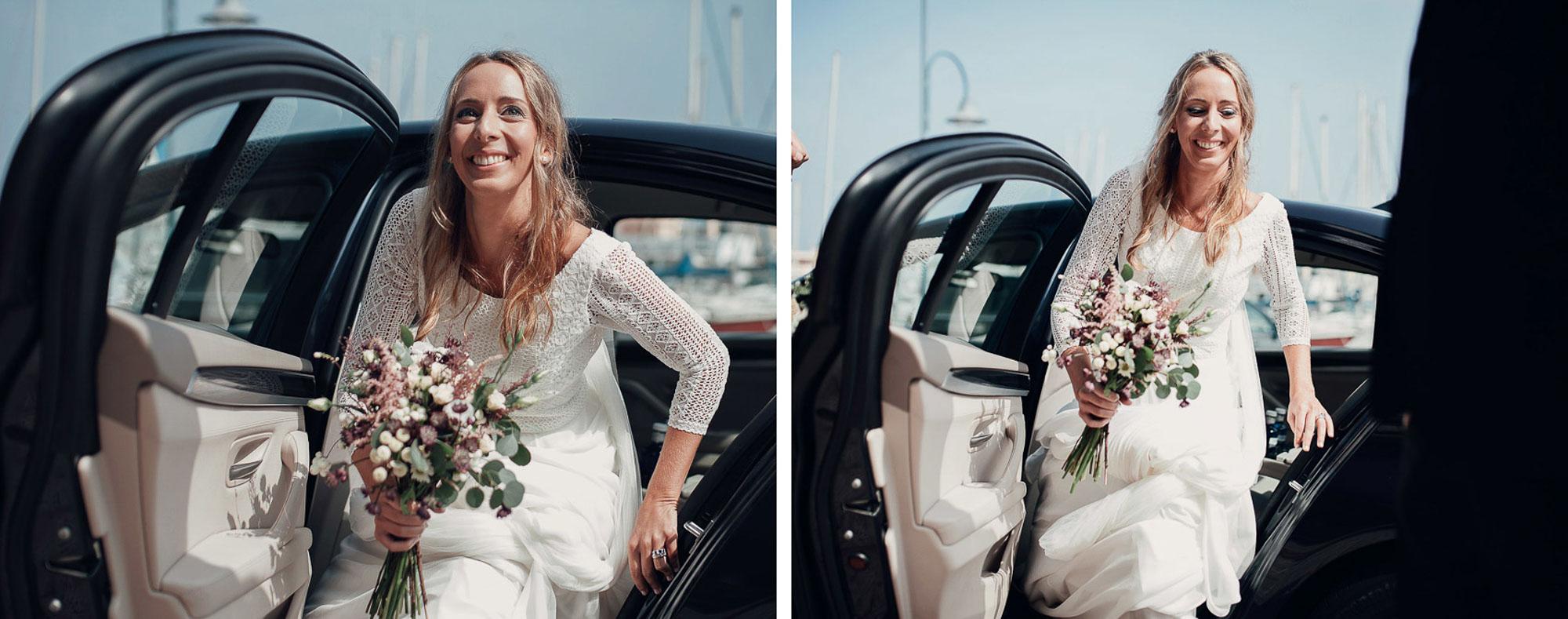 novia ramo vestido boda coche llegada iglesia wedding cabo de palos playa photography