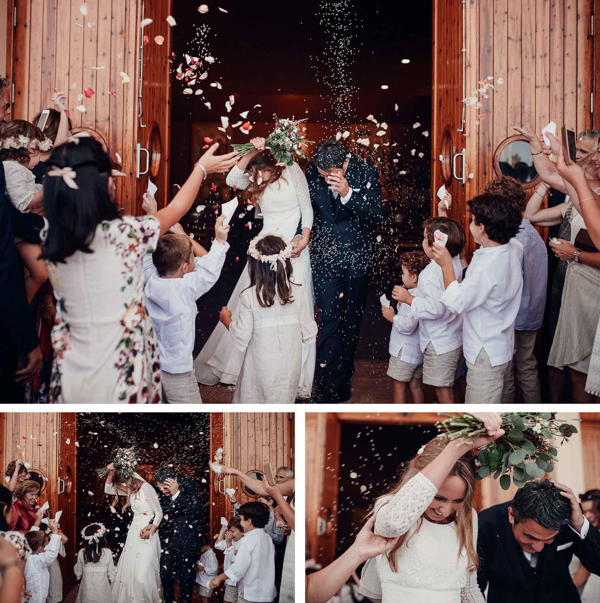salida iglesia boda ramo arroz flores novios cabo de palos invitados fotografia