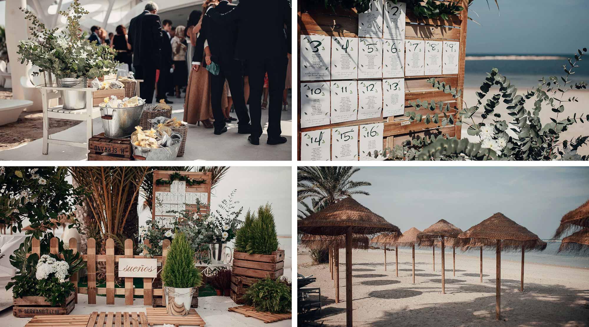 Decoración wedding valisse playa cabo de palos mesas flores fotografia Collados restaurante