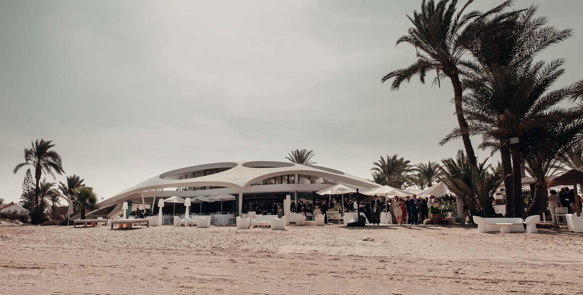collados beach plano exterior restaurante cabo de palos playa palmeras fotografia