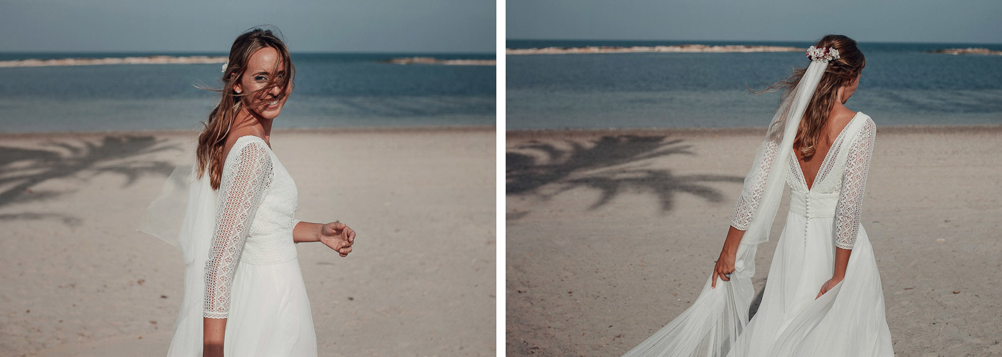 novia vestido playa blanco velo flores detalle cabo de palos fotografia atardecer