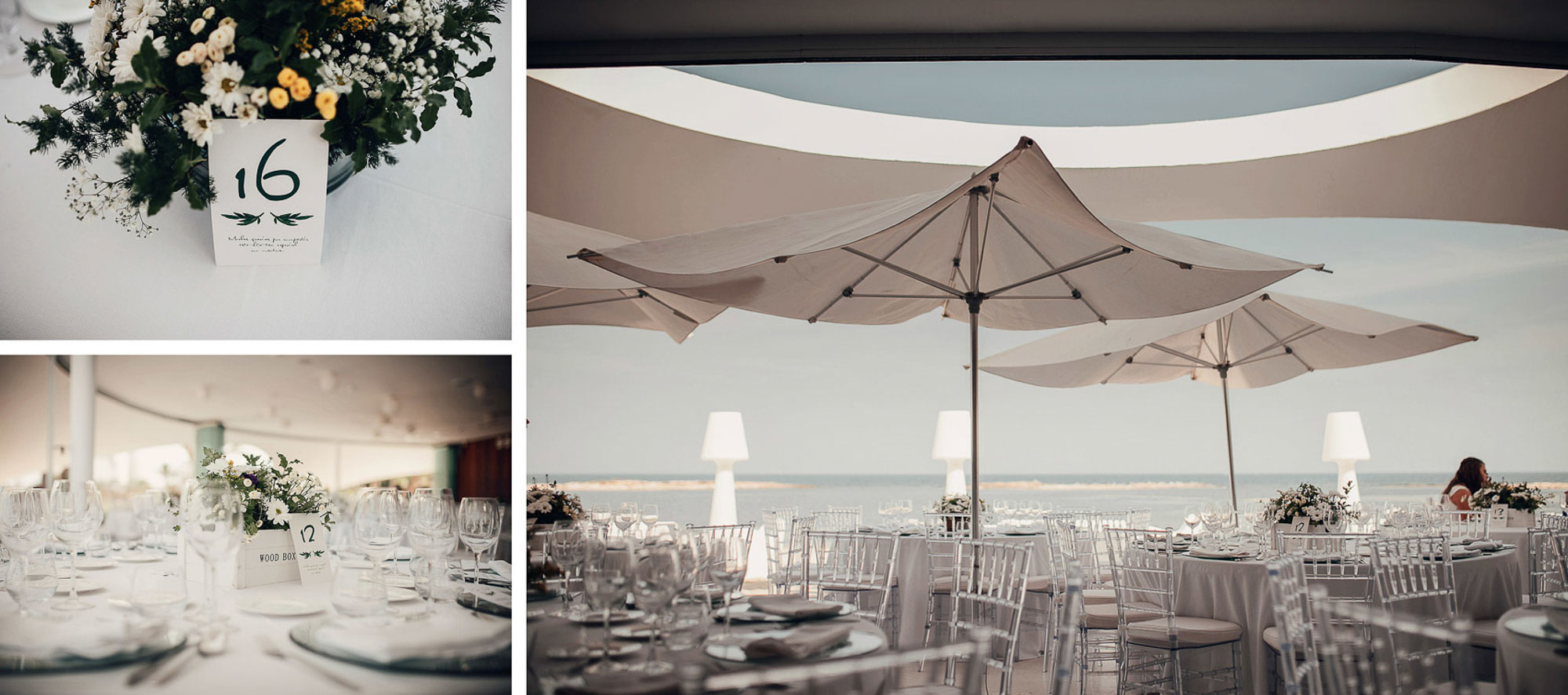 Decoración wedding valisse playa cabo de palos sombrillas mesas flores fotografia Collados restaurante