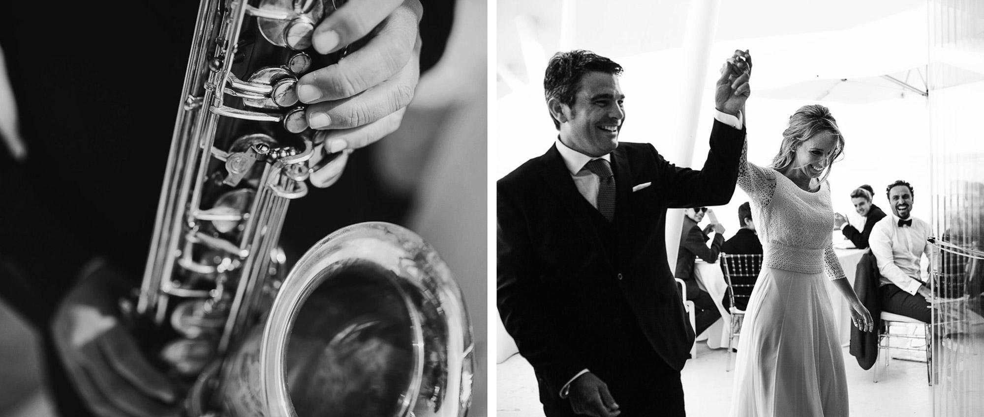 celebracion enlace novios musica saxofon fiesta Cabo de palos fotografia