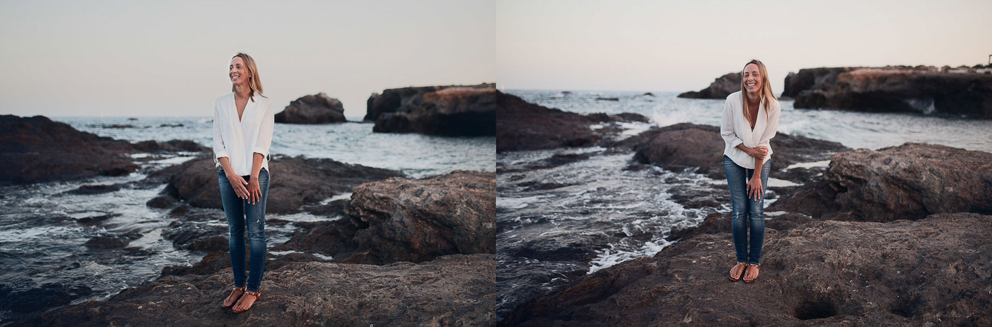 novia rubia sonrisa playa cabo de palos rocas atardecer