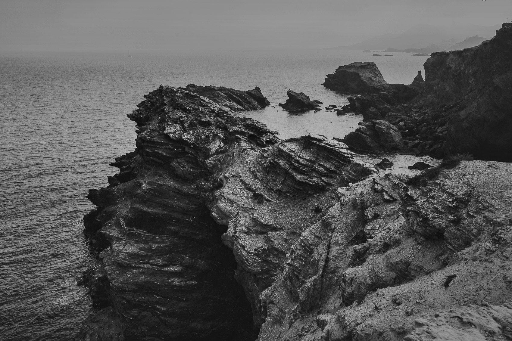 acantilado mar vistas mediterraneo negro cabo de palos