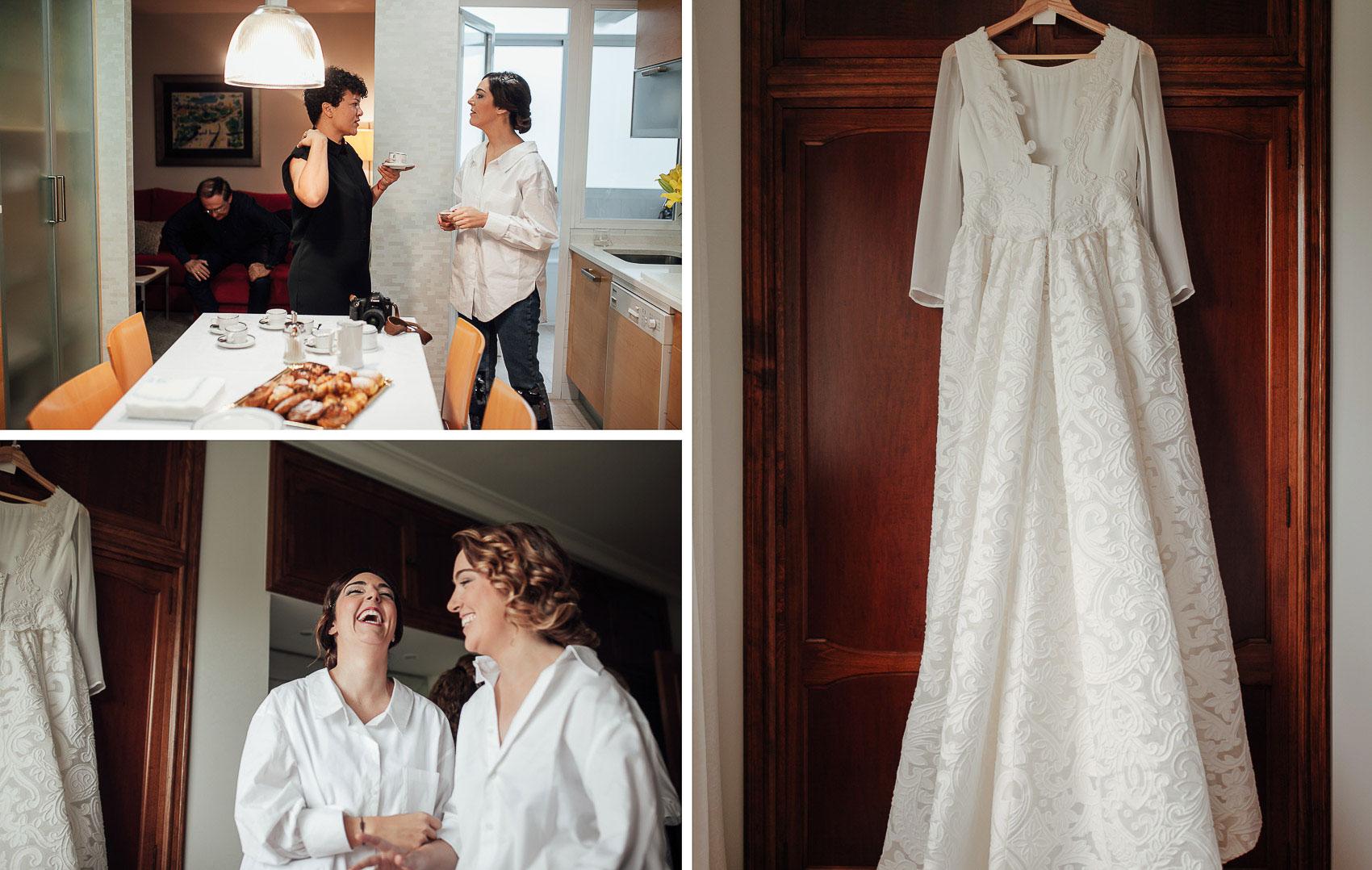 casa novia cocina vestido preparativos fotografia boda