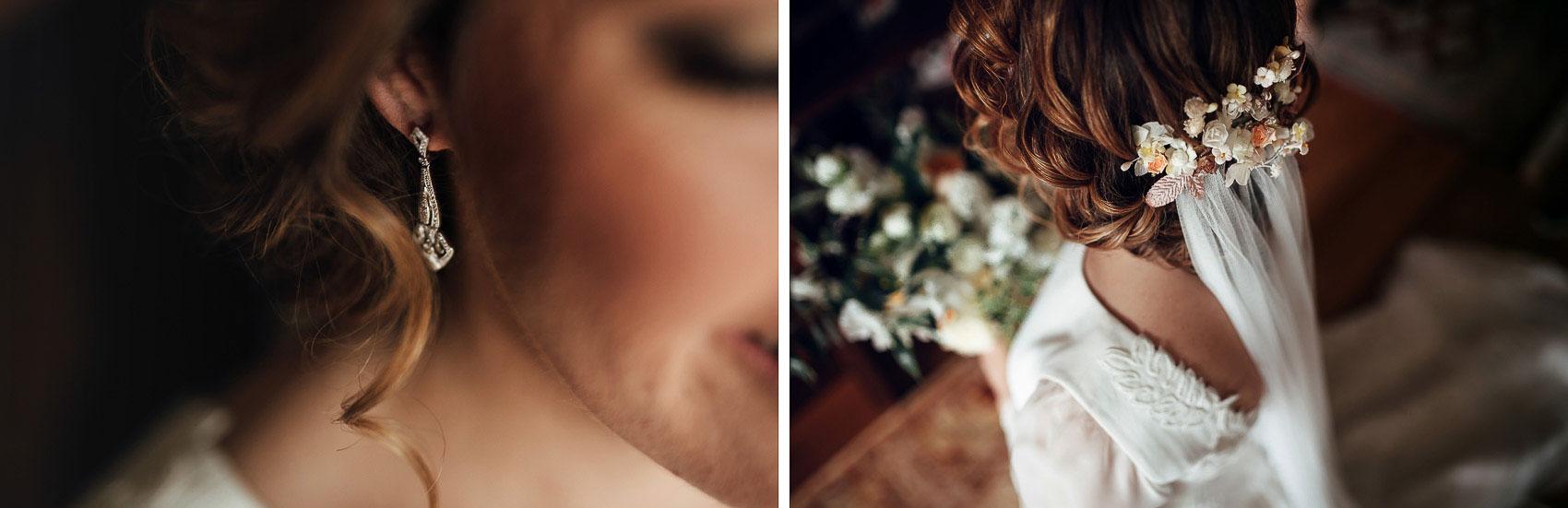 fotografia boda novia detalle tocado velo pendientes