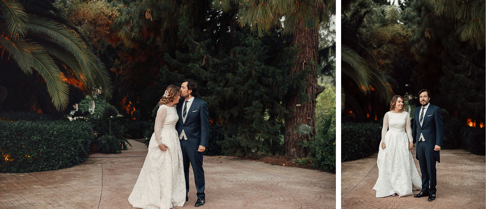 fotografia boda novios pareja casados parque de la marquesa naturaleza